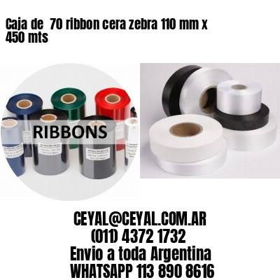 Caja de  70 ribbon cera zebra 110 mm x 450 mts